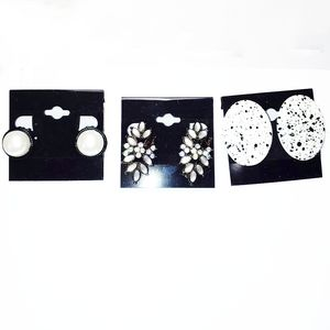 0248 3 Pairs of Black and White Clip on Earrings